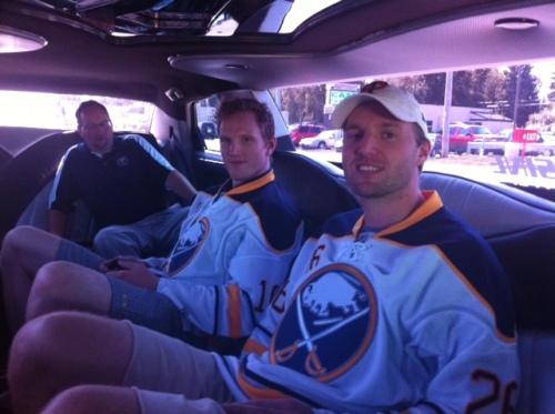 Today I spent the afternoon driving around in a limo with Christian Ehrhoff and Thomas Vanek.
